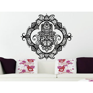 Wall Decals Yoga Fatima Hand Hamsa Indian Buddha Ganesh Decal Lotus Sticker Decal Size 22x22