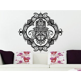 Wall Decals Yoga Fatima Hand Hamsa Indian Buddha Ganesh Decal Lotus Sticker Decal size 33x33