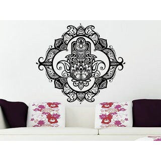 Wall Decals Yoga Fatima Hand Hamsa Indian Buddha Ganesh Decal Lotus Sticker Decall size 48x48