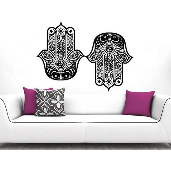 Hamsa Hand Fish Eye Indian Buddha Yoga Fatima Ganesh Lotus Sticker Decal Size 33x45 Color Black