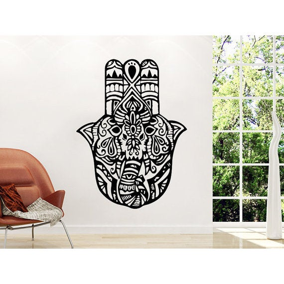 Elephant Wall Decals Yoga Fatima Hand Hamsa Indian Buddha Ganesh Decal Lotus Vinyl Sticker Decall size 44x60 Color Black
