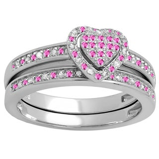 Sterling Silver 1/4ct TW Pink Sapphire and White Diamond Heart Bridal Ring Set (I-J, I2-I3 )