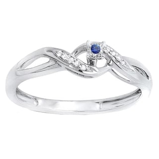 Sterling Silver 1/20 ct. Round Blue Sapphire & Diamond Crossover Swirl Bridal Promise Ring (I-J & Blue, I2-I3 & Highly Included)
