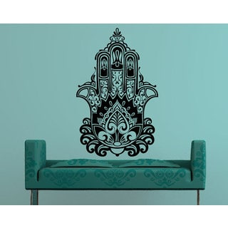 Yoga Fatima Hand Hamsa Indian Buddha Ganesh Decal Lotus Vinyl Sticker Decall size 44x60 Color Black