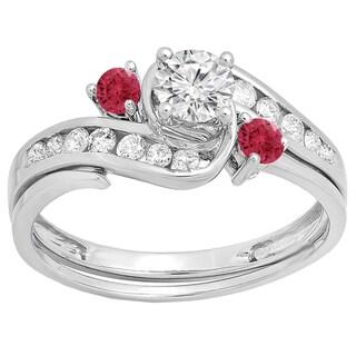 14k White Gold 7/8ct TGW Round Ruby and White Diamond Accent Swirl Bridal Set (H-I, I1-I2 )
