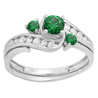 10k White Gold 7/8ct TW Round Emerald and White Diamond Swirl Bridal Set (H-I, I1-I2)