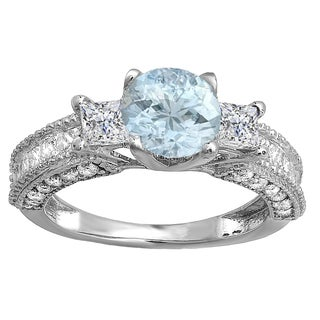 18k White Gold 3 1/6ct TW Round Aquamarine and Princess Diamond 3-stone Bridal Ring (H-I, I1-I2)