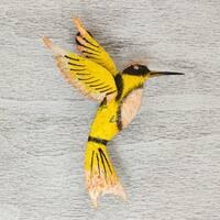 Handmade Iron 'Little Yellow Hummingbird' Wall Sculpture (Mexico)