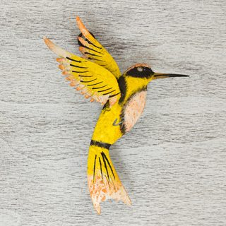 Handmade Iron 'Little Yellow Hummingbird' Wall Sculpture (Mexico)