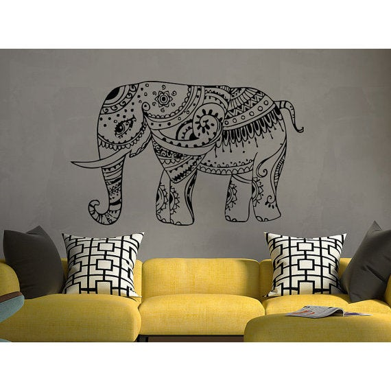 Elephant Wall Decal Stickers  Elephant Yoga Indie Wall Art Bedroom Dorm  Nursery Boho Sticker Decal S   Free Shipping On Orders Over $45    Overstock.com   ...