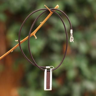 Handmade Sterling Silver Leather 'Brown Quechua Minimalist' Cubic Zirconia Necklace (Peru)