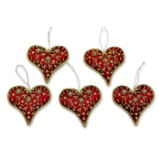 Set of 5 Handcrafted Polyester 'Burgundy Heart' Beaded Ornaments (India)