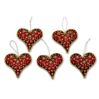 Link to Set of 5 Handcrafted Polyester 'Burgundy Heart' Beaded Ornaments (India) Similar Items in Christmas Decorations
