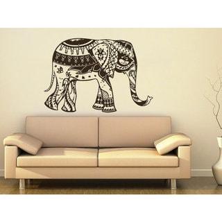 Elephant Yoga Wall Decals Indie Wall Art Bedroom Dorm Nursery Boho Sticker Decal size 48x57 Color Bl