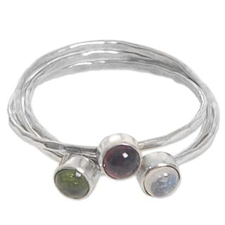 Handcrafted Sterling Silver 'Memorable Trio' Multi-gemstone Ring (Indonesia)