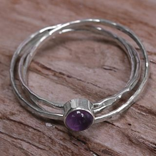 Handmade Sterling Silver 'Magical Essence in Purple' Amethyst Ring (Indonesia)