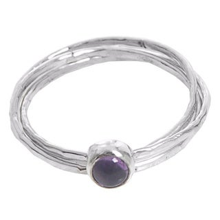 Handcrafted Sterling Silver 'Magical Essence in Purple' Amethyst Ring (Indonesia)