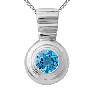 Orchid Jewelry 925 Sterling Silver 2 1/5 Carat Blue Topaz Necklace