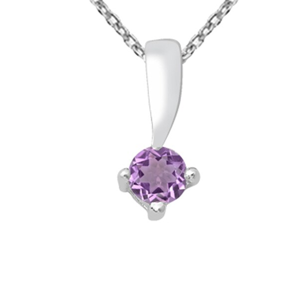 eae3d8520c8334 925 Sterling Silver 0.45 Carat Amethyst Solitaire Pendant Necklace