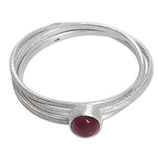 Handcrafted Sterling Silver 'Magical Force' Garnet Ring (Indonesia)