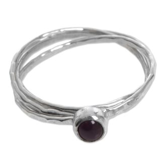 Handcrafted Sterling Silver 'Magical Essence in Red' Garnet Ring (Indonesia)