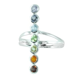 Handcrafted Sterling Silver 'Peaceful Harmony' Multi-gemstone Ring (India)