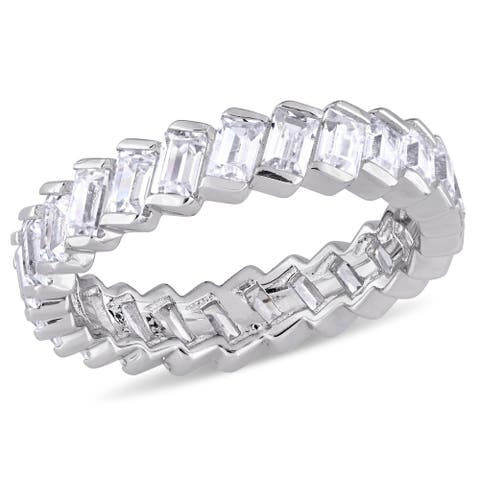 Miadora Sterling Silver Baguette-Cut Cubic Zirconia Full-Eternity Band - White