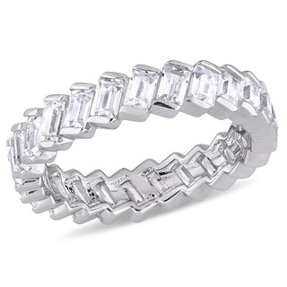 Miadora Sterling Silver Baguette-Cut Cubic Zirconia Full-Eternity Band