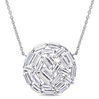 Miadora Sterling Silver Baguette-Cut Cubic Zirconia Round Cluster Necklace