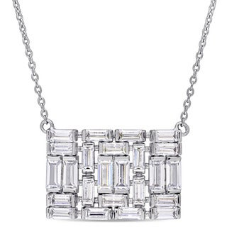 Miadora Sterling Silver Baguette-Cut Cubic Zirconia Rectangular-Shaped Cluster Necklace