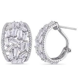 Miadora Sterling Silver Baguette-Cut and Round-Shaped Cubic Zirconia Halo Cluster Leverback Semi-Hoop Earrings