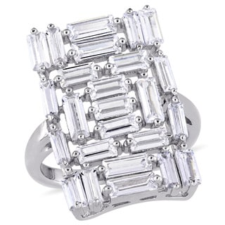 Miadora Sterling Silver Baguette-Cut Cubic Zirconia Rectangle-Shaped Cluster Ring