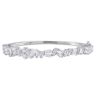 Miadora Sterling Silver Baguette-Cut Cubic Zirconia Abstract Cluster Bangle