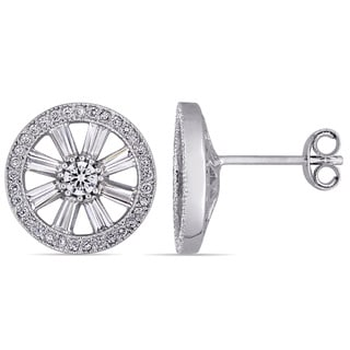 Miadora Sterling Silver Tapered Baguette-Cut and Round-Cut Cubic Zirconia Wheel Stud Earrings