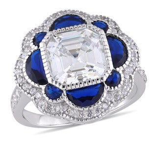 Miadora Sterling Silver Half-Moon-Cut Blue Spinel and Octagon and Round-Cut Cubic Zirconia Halo Cocktail Ring