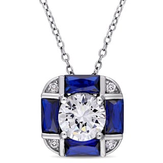 Miadora Sterling Silver Baguette-Cut Blue Spinel and Round-Cut Cubic Zirconia Dangle Necklace