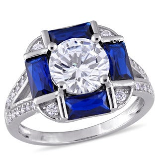 Miadora Sterling Silver Baguette-Cut Blue Spinel and Round-Cut Cubic Zirconia Cocktail Ring