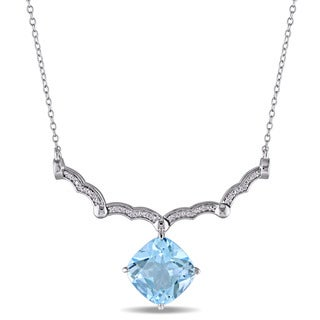 Miadora Sterling Silver Cushion-Cut Blue Topaz and Diamond Accent Journey Dangle Necklace (G-H, I2-I3)