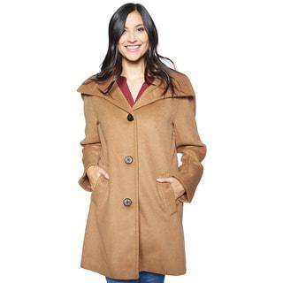 Ellen Tracy Women's Angora Blend Kimono Size 8 Coat in Camel(As Is Item)