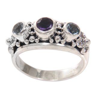 Handcrafted Sterling Silver 'Seminyak Blossoms' Amethyst Blue Topaz Ring (Indonesia)