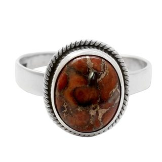 Handmade Sterling Silver 'Sunset Sky in Jaipur' Composite Turquoise Ring (India)