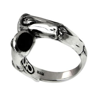 Handcrafted Sterling Silver 'Petung Bamboo' Onyx Ring (Indonesia)