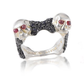 Stephen Webster Men's Skull Bones Sterling Silver Ruby Black Sapphire Ring (More options available)