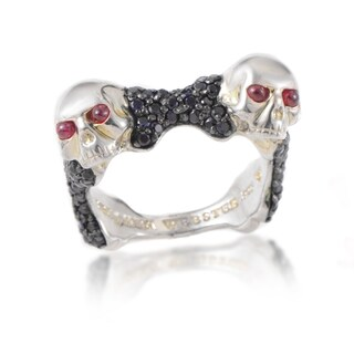 Stephen Webster Men's Skull Bones Sterling Silver Ruby Black Sapphire Ring
