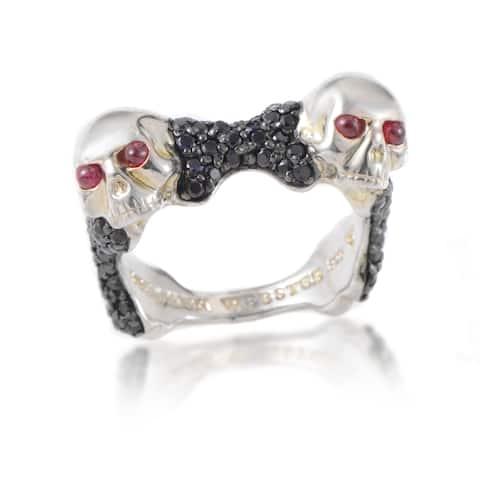 Stephen Webster Men's Skull Bones Sterling Silver Ruby Black Sapphire Ring
