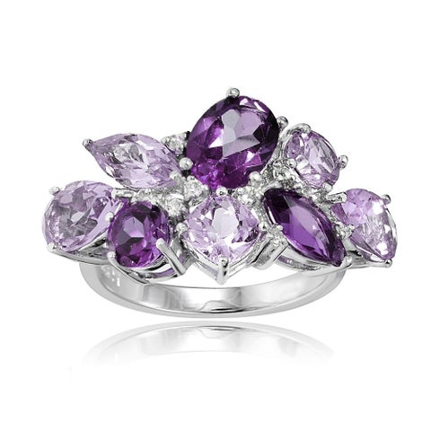 Glitzy Rocks Sterling Silver African Amethyst, Amethyst, and White Topaz Cluster Tonal Ring