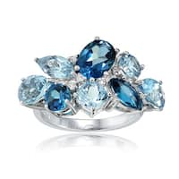 Glitzy Rocks Sterling Silver London Blue, Blue Topaz, and White Topaz Cluster Tonal Ring
