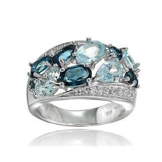 Glitzy Rocks Sterling Silver London Blue, Blue and White Topaz Cluster Tonal Ring|https://ak1.ostkcdn.com/images/products/14008706/P20630573.jpg?impolicy=medium