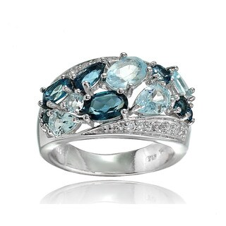 Glitzy Rocks Sterling Silver London Blue, Blue and White Topaz Cluster Tonal Ring