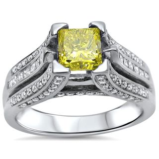 Noori 14k Gold 2ct TDW Canary Yellow Princess-cut Diamond Engagement Ring